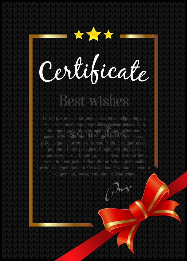 Modello del certificato con il nastro rosso su fondo nero Vettore royalty illustrazione gratis