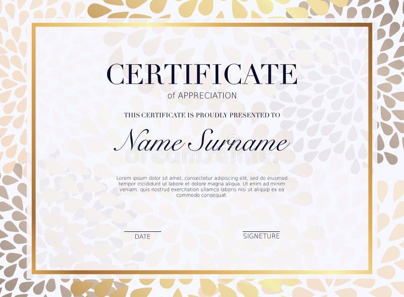 Modello del certificato con l'elemento dorato della decorazione Dipl di progettazione illustrazione di stock