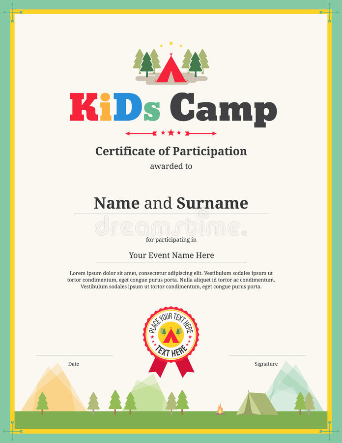 Modello del certificato dei bambini nel vettore per partecipazione di campeggio illustrazione vettoriale