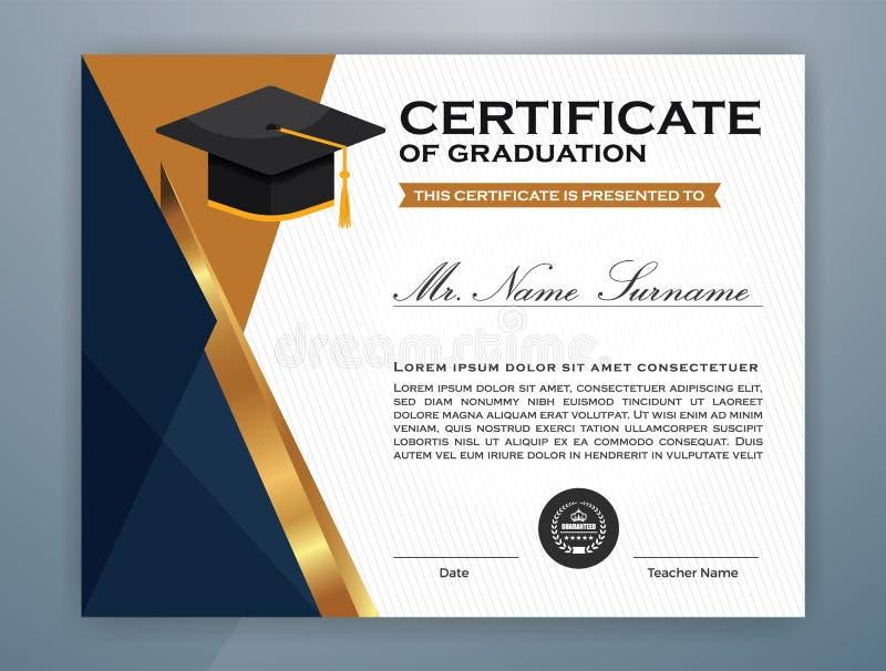 Modello del certificato del diploma di High School illustrazione di stock