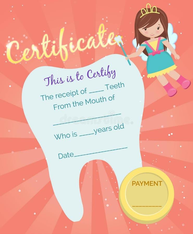 Modello del certificato della ricevuta del fatato di dente illustrazione vettoriale