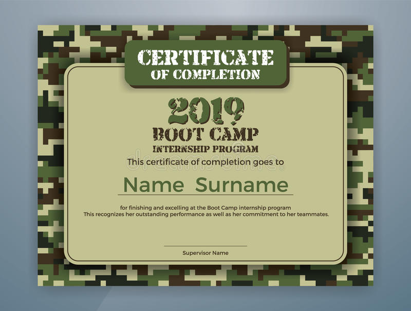 Modello del certificato di programma di internato di Boot Camp royalty illustrazione gratis
