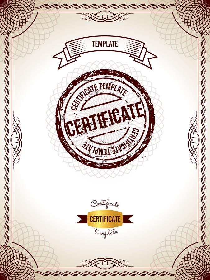 Modello del certificato Illustrazione di vettore del certificato in bianco dettagliato dell'oro illustrazione di stock