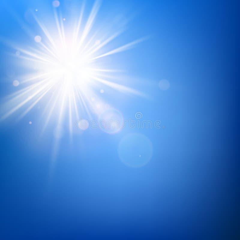 Modello del cielo blu di estate e scoppio caldo dei raggi del sole di estate con il chiarore della lente ENV 10 illustrazione vettoriale