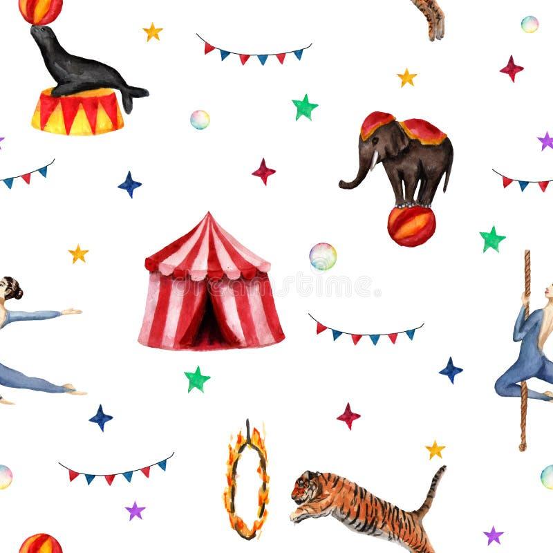 Modello del circo, elefante, guarnizione, tigre, tenda, bandiere, bolle di sapone ed acrobata Illustrazione dell'acquerello su bi royalty illustrazione gratis