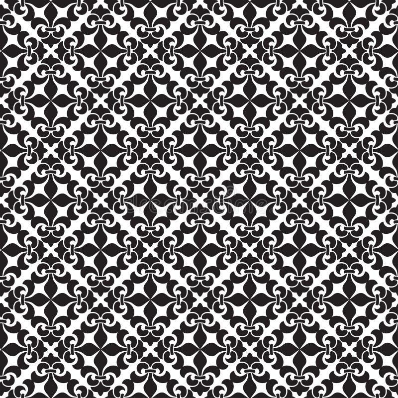 Modello del classico di Oriente Fondo astratto senza cuciture con gli elementi d'annata Damasco in bianco e nero royalty illustrazione gratis