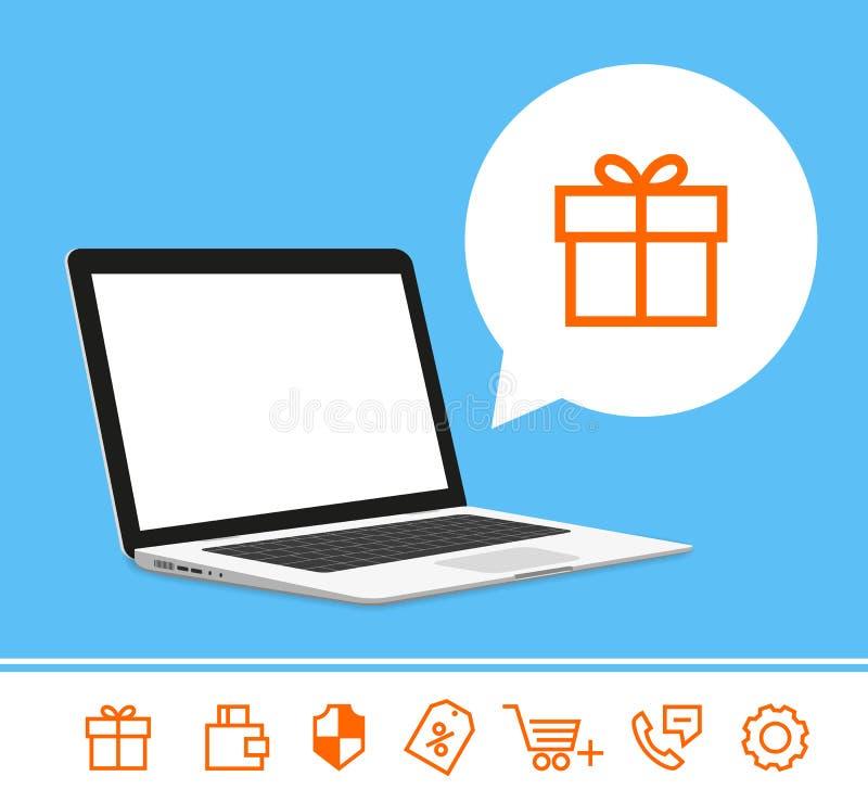 Modello del computer portatile royalty illustrazione gratis