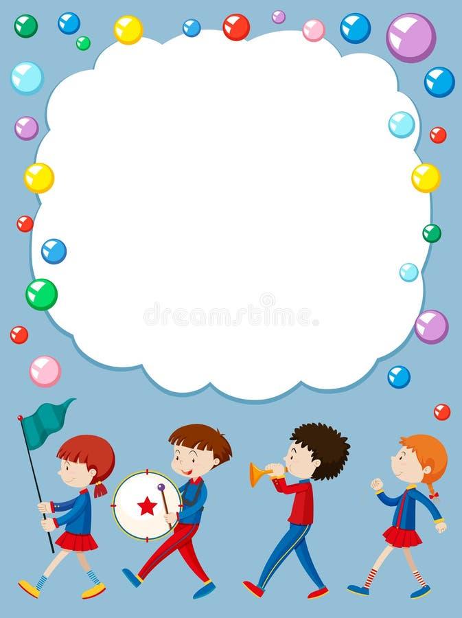 Modello del confine con i bambini nella banda di scuola illustrazione vettoriale