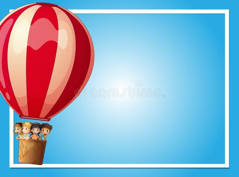 Modello del confine con i bambini in pallone rosso illustrazione vettoriale