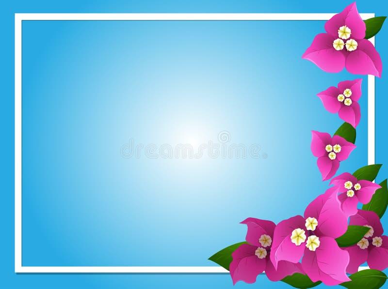 Modello del confine con la buganvillea rosa royalty illustrazione gratis