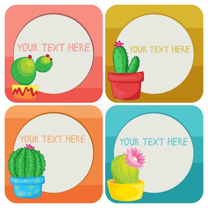 Modello del confine con le piante del cactus illustrazione di stock