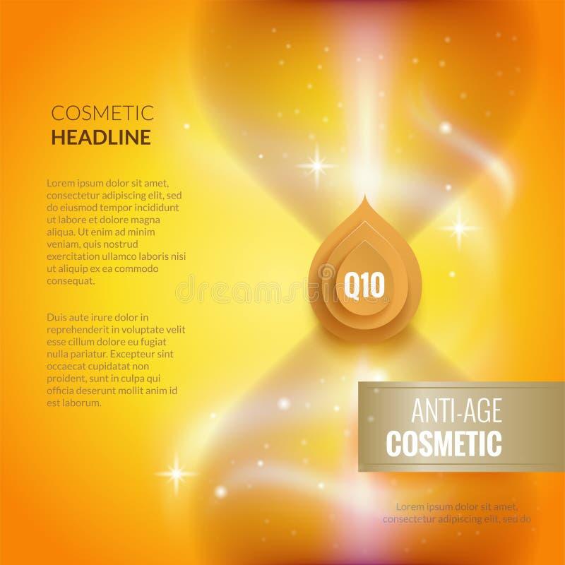 Modello del cosmetico di anti-età di cura di pelle Concetto dorato dell'opuscolo o del manifesto illustrazione vettoriale