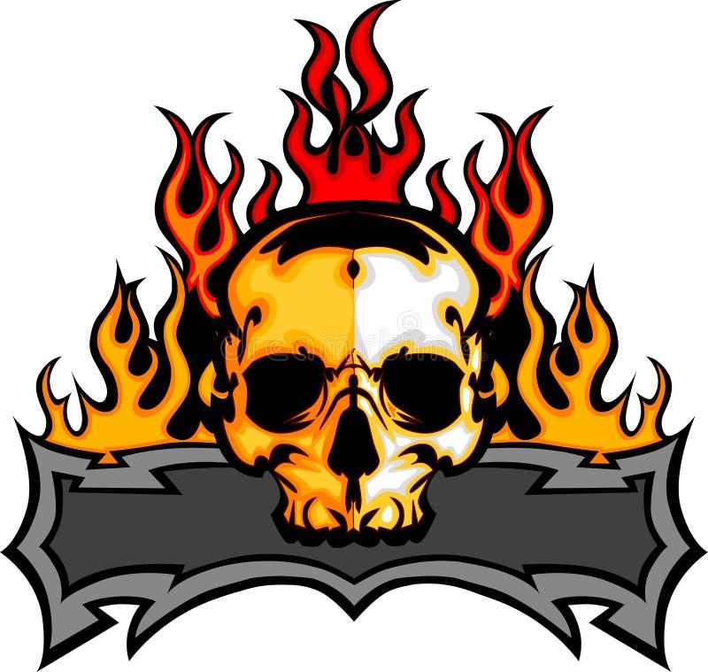 Modello del cranio con l'immagine delle fiamme illustrazione vettoriale