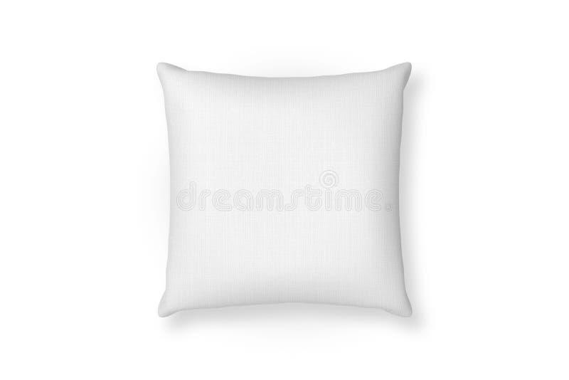 Modello del cuscino della tela Fondo isolato cuscino in bianco bianco Vista superiore illustrazione di stock