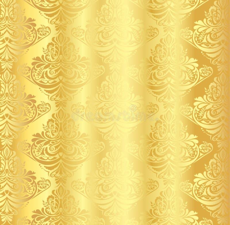 Modello del damasco dell'oro con l'ornamento floreale d'annata royalty illustrazione gratis