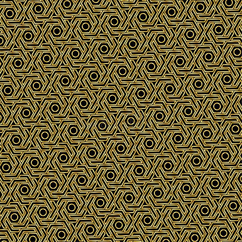 Modello del modello dell'oro con un fondo nero come fondo astratto illustrazione vettoriale