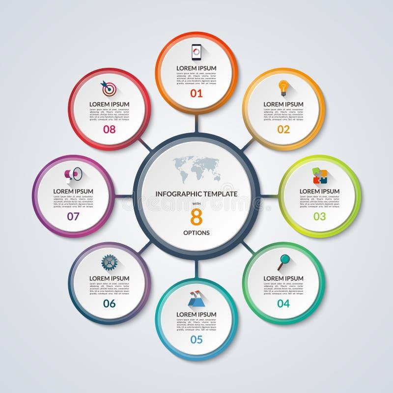 Modello del diagramma circolare di Infographic con 8 opzioni royalty illustrazione gratis