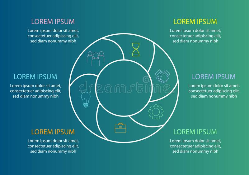 Modello del diagramma a torta - diagramma circolare per la relazione di attività o la presentazione statistiche royalty illustrazione gratis
