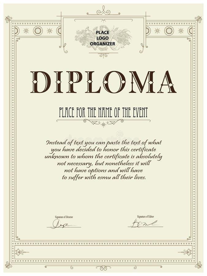 Modello del diploma royalty illustrazione gratis