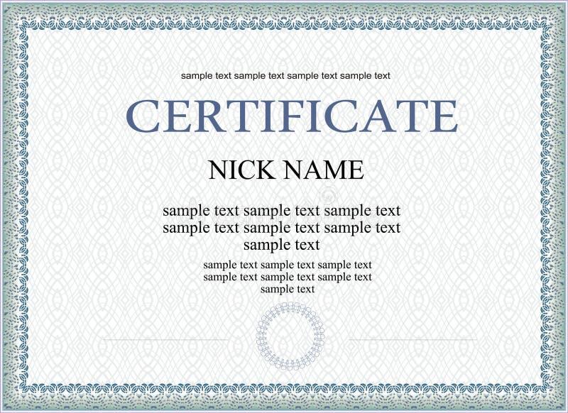 Modello del diploma o del certificato illustrazione di stock