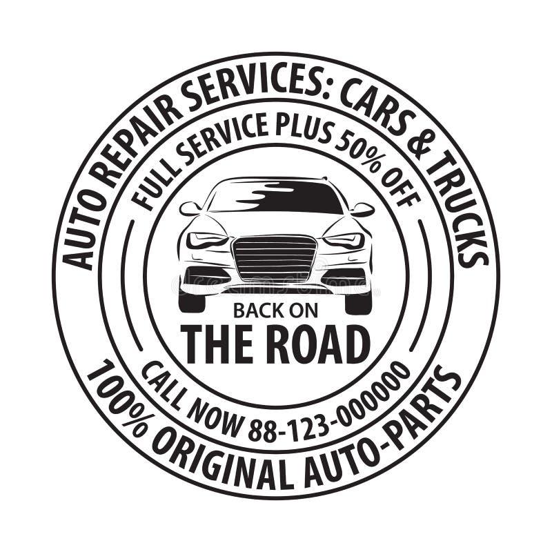 Modello del distintivo di servizi di riparazione automatica Etichetta di servizio dell'automobile, emblema royalty illustrazione gratis