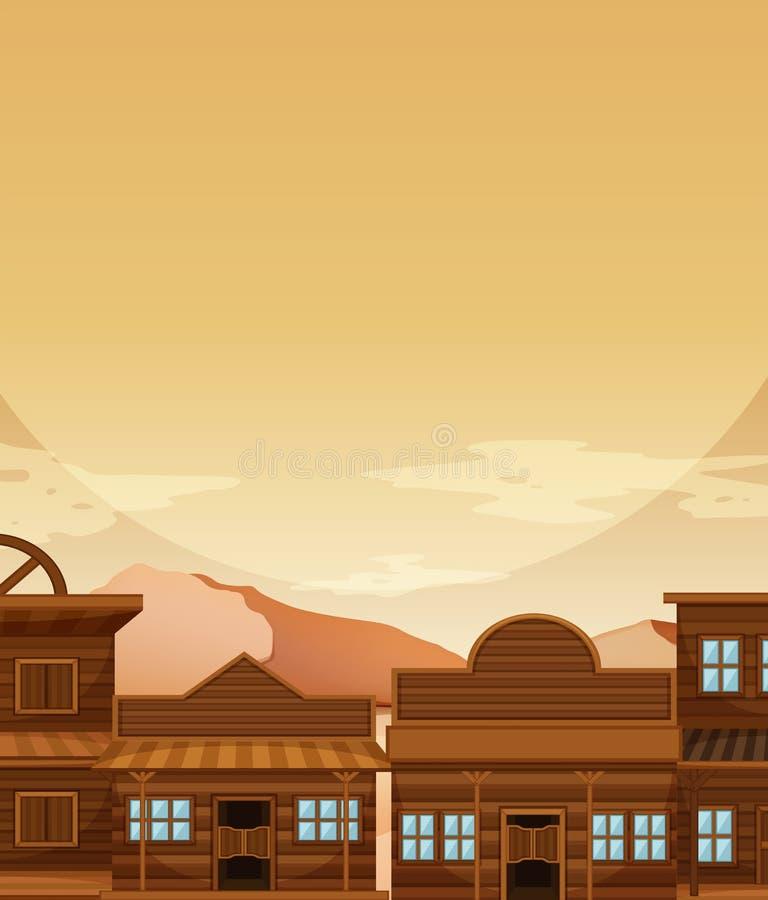 Modello del fondo con costruzione nel cowboy occidentale royalty illustrazione gratis
