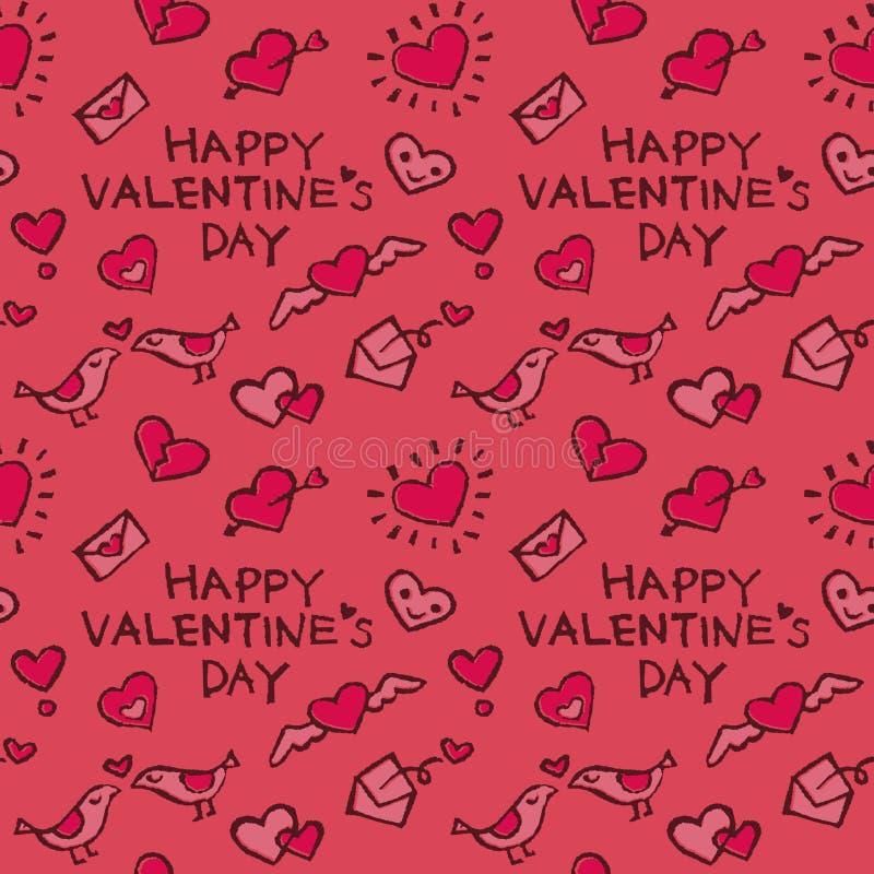 Modello del fondo con gli elementi del biglietto di S. Valentino, i cuori, le lettere di amore e gli uccelli illustrazione di stock
