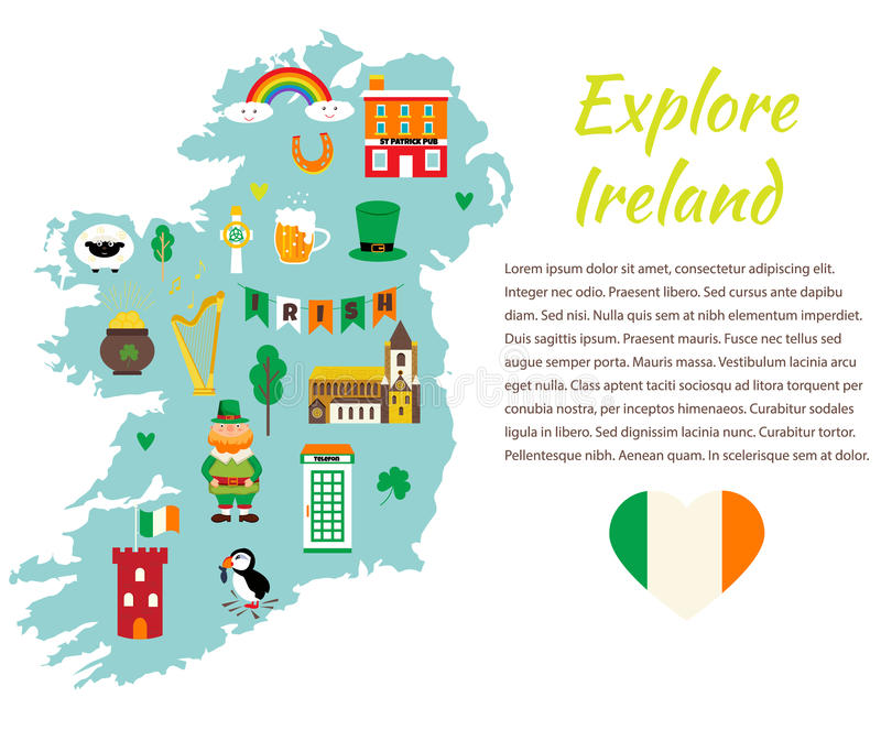 Irlanda Cartina Turistica.Modello Del Fondo Con La Mappa Turistica Dell Irlanda Con I Punti Di Riferimento I Simboli Ed Il Testo Illustrazione Vettoriale Illustrazione Di Architettura Programma 99200635