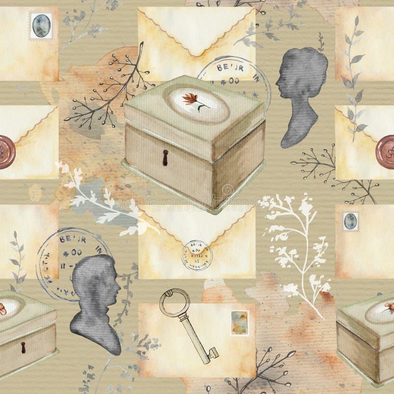 Modello del fondo dell'acquerello con le lettere d'annata illustrazione vettoriale