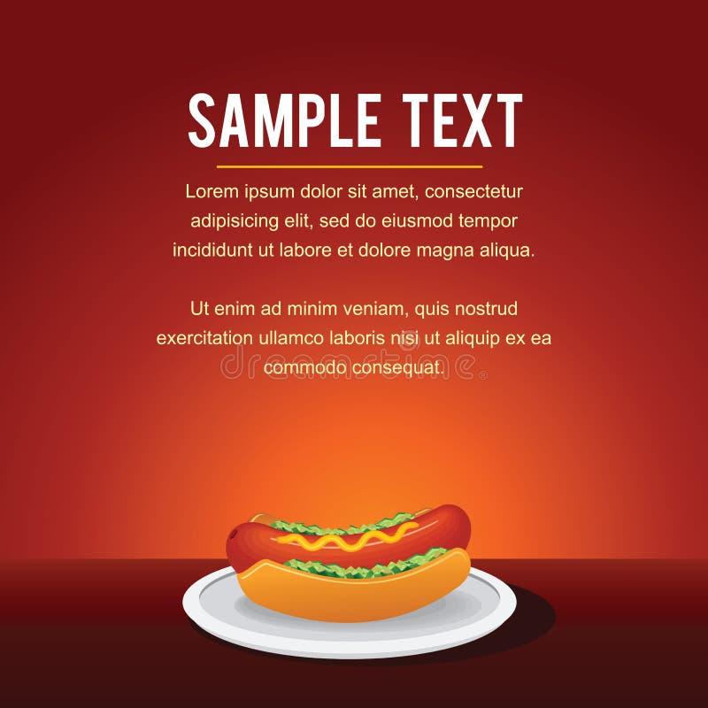 Modello del fondo di vettore degli alimenti a rapida preparazione Hot dog illustrazione vettoriale