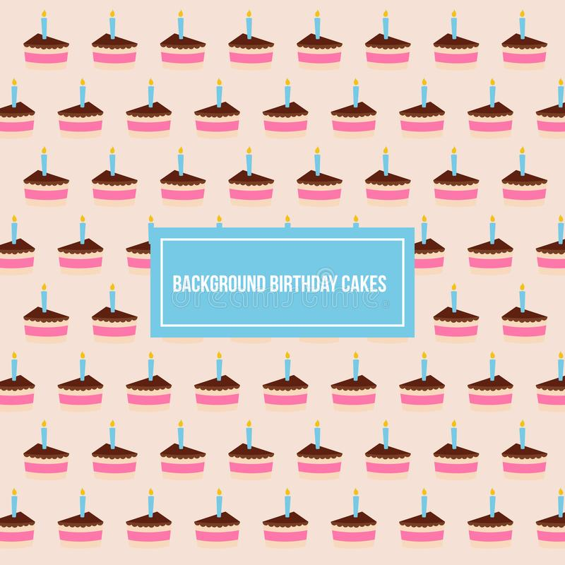 Modello del fondo di vettore del modello delle torte di compleanno immagine stock libera da diritti