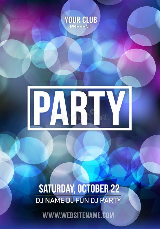 Modello del fondo del manifesto del partito di discoteca di notte - illustrazione di vettore illustrazione di stock