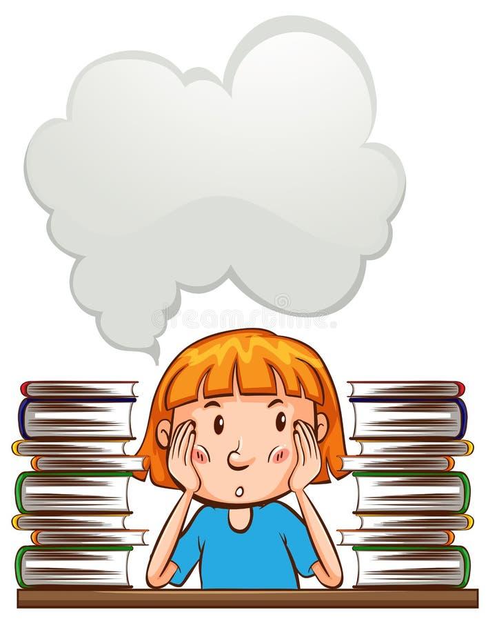 Modello del fumetto con la ragazza ed i libri illustrazione di stock