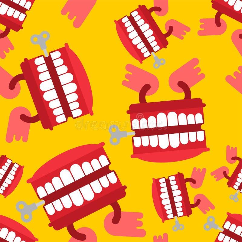 Modello del giocattolo dei denti di schiamazzo senza cuciture Ornamento di April Fools Day Ja royalty illustrazione gratis