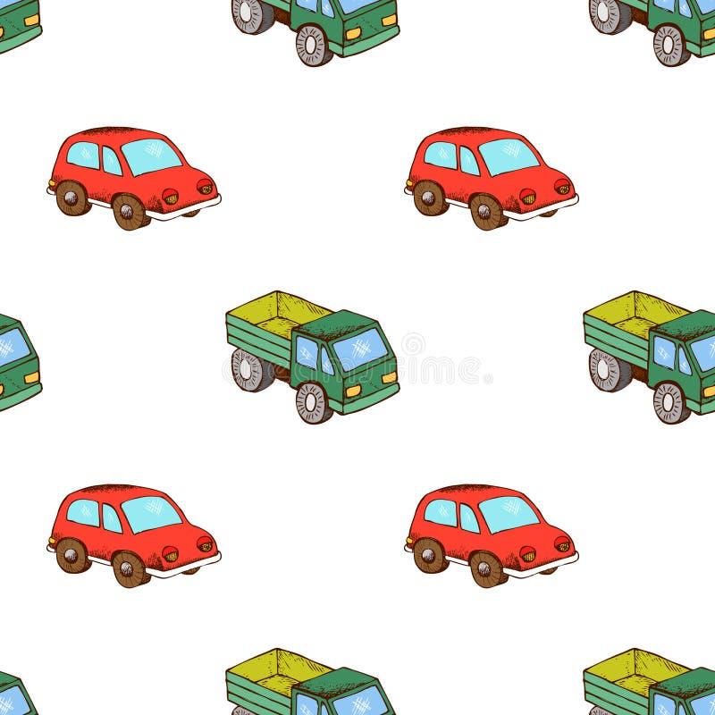 Modello del giocattolo dell'automobile e del camion senza cuciture illustrazione vettoriale