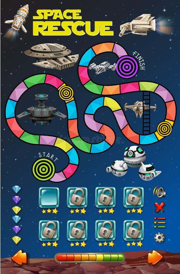 Modello del gioco con i razzi nello spazio illustrazione di stock