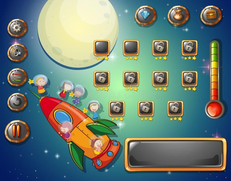 Modello del gioco con il tema dello spazio royalty illustrazione gratis