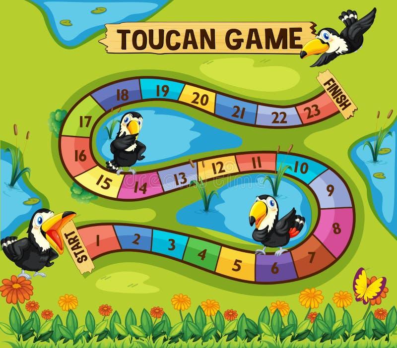 Modello del gioco da tavolo con gli uccelli del tucano in parco illustrazione di stock