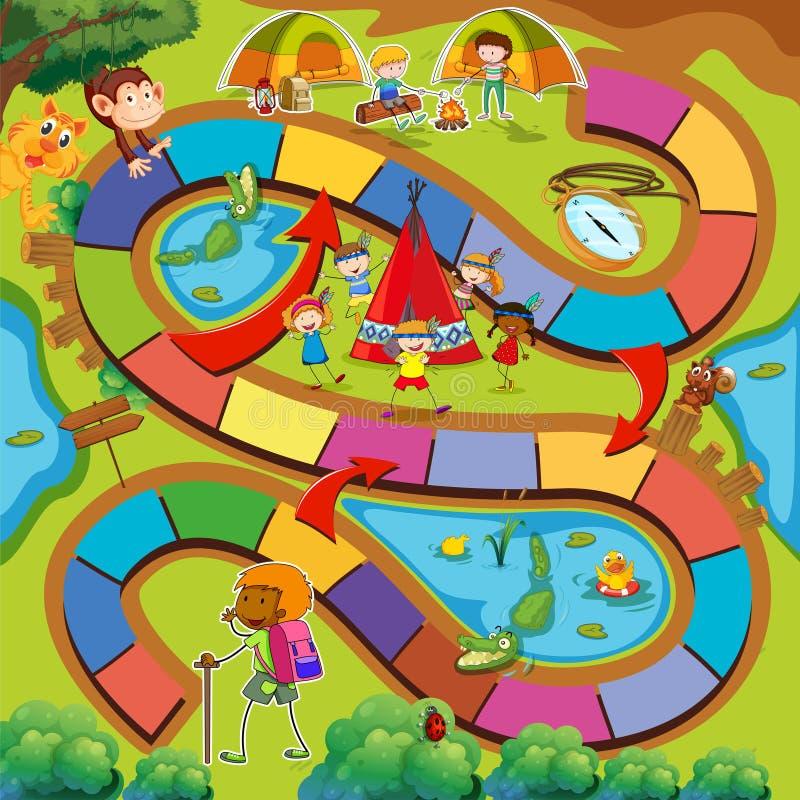 Modello del gioco da tavolo con il campeggio e l'escursione del tema illustrazione vettoriale