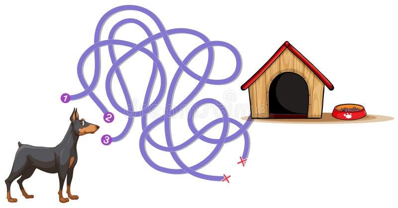 Modello del gioco da tavolo con il cane che trova a casa royalty illustrazione gratis