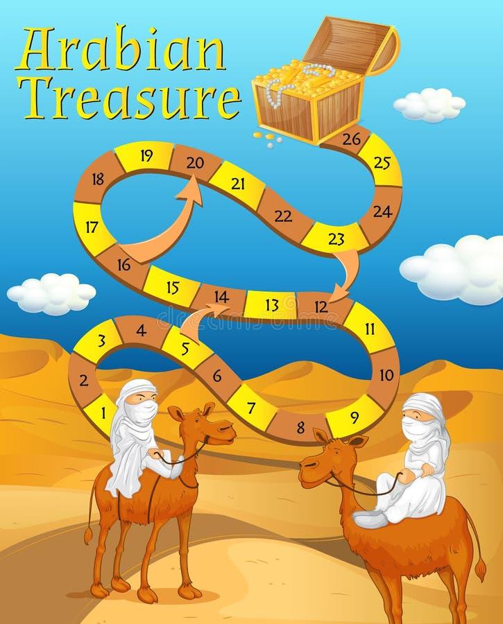 Modello del gioco da tavolo con il deserto nel fondo royalty illustrazione gratis