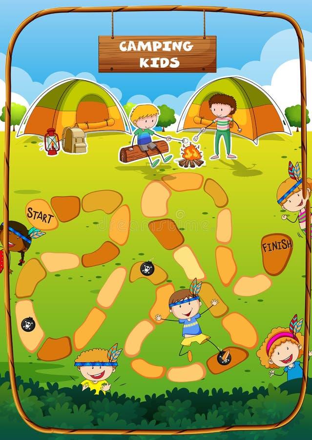Modello del gioco da tavolo con il tema di campeggio illustrazione di stock