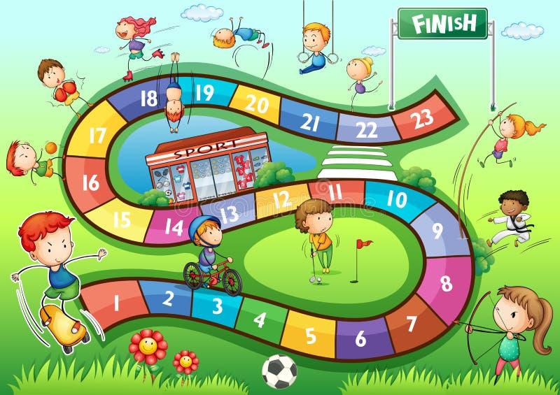 Modello del gioco da tavolo con il tema di sport illustrazione vettoriale