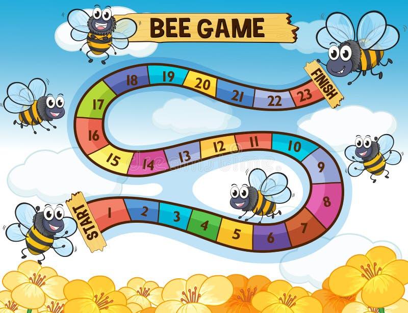 Modello del gioco da tavolo con la volata delle api illustrazione di stock
