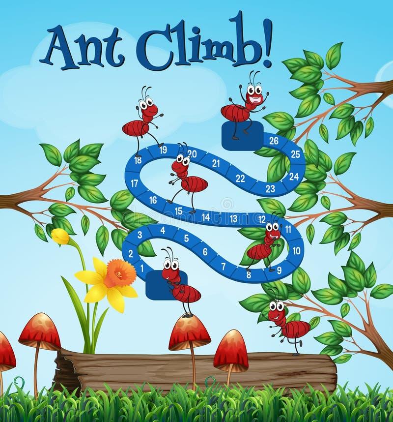 Modello del gioco da tavolo con le formiche in giardino illustrazione di stock