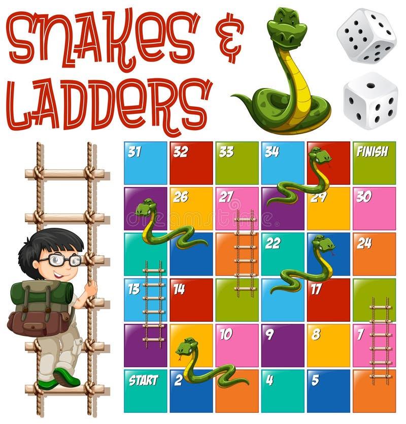 Modello del gioco da tavolo con le scale ed i serpenti royalty illustrazione gratis