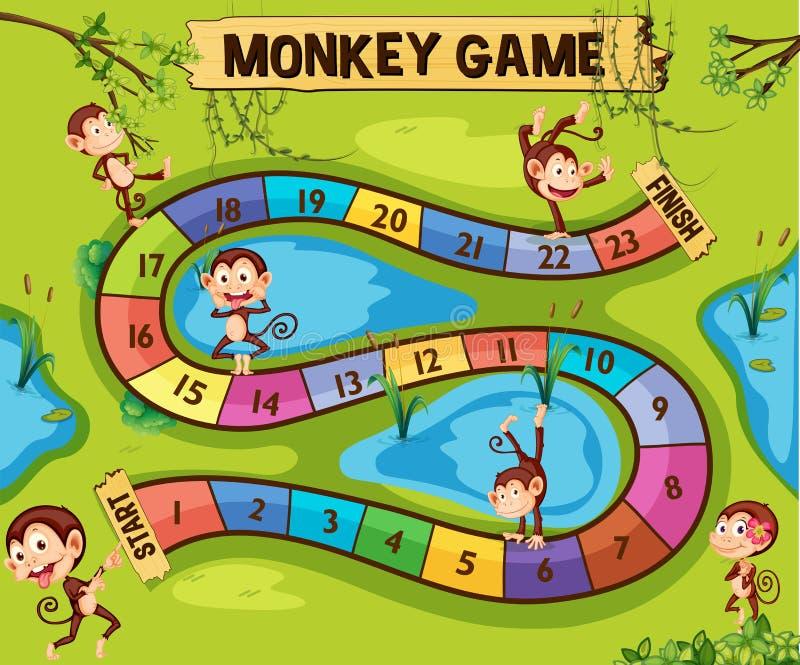 Modello del gioco da tavolo con le scimmie in giungla illustrazione di stock