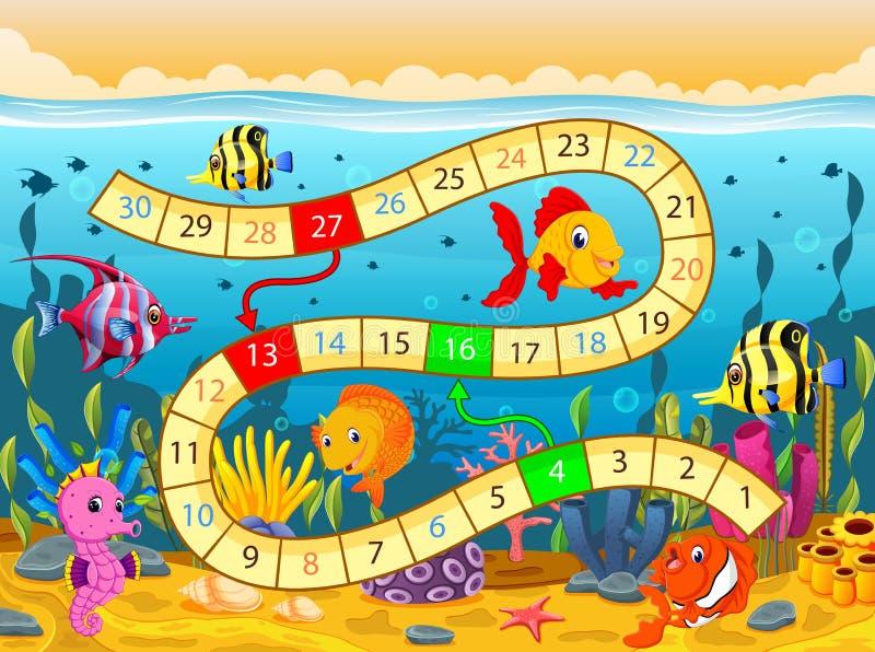 Modello del gioco da tavolo con nell'ambito dei precedenti del mare illustrazione vettoriale