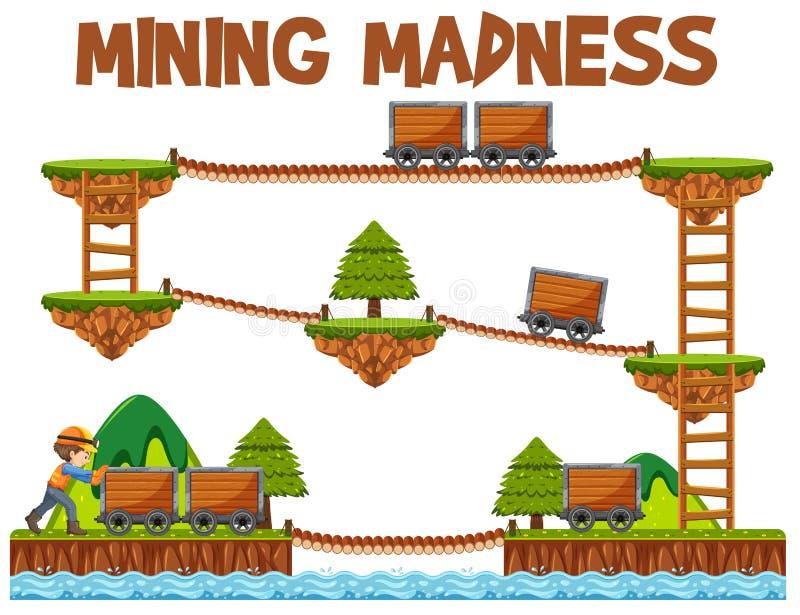 Modello del gioco di follia di estrazione mineraria di avventura illustrazione di stock