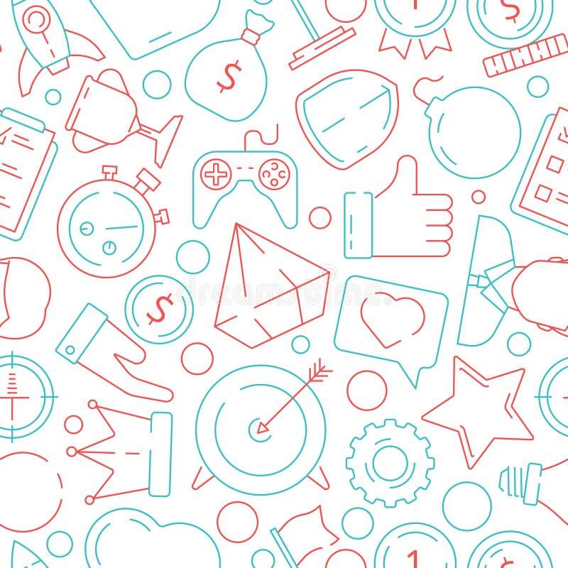 Modello del gioco Fondo senza cuciture di vettore di sfida di motivazione dei righelli di achivement di simboli di affari di Gami royalty illustrazione gratis